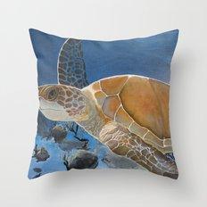 sea turtle by Jes Throw Pillow
