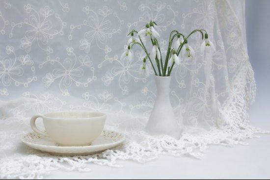 Snowdrops at Teatime Art Print