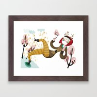 Deer Girl Framed Art Print