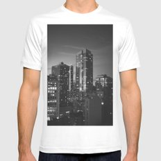 New York City Night Scene Mens Fitted Tee White SMALL