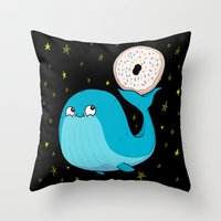 Pluto's Whale and Donut Throw Pillow