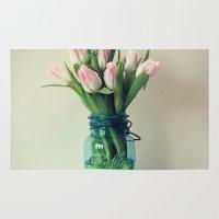Mason Jar Spring Tulips Rug