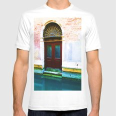 Front Lawn SMALL White Mens Fitted Tee