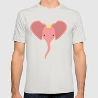Pink Elephants Everywhere Mens Fitted Tee Silver SMALL