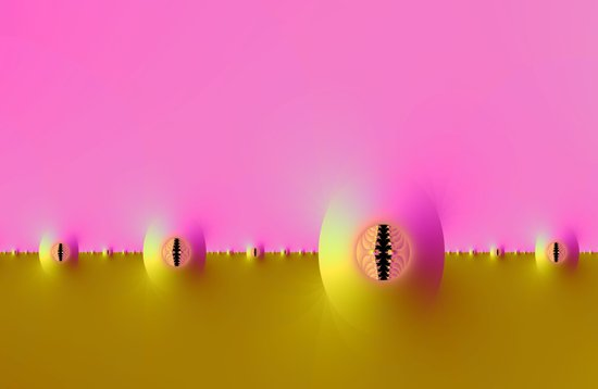 Fractal Farm in Pink and Gold Art Print