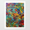 FIREWORKS IN COLOR - Bold Abstract Acrylic Painting Lovely Masculine Colorful Splash Pattern Gift Art Print