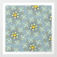 Bunches of Yellow flowers Art Print