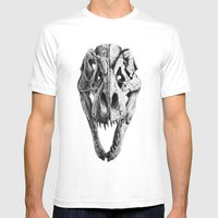 T-Rex Skull Mens Fitted Tee White SMALL