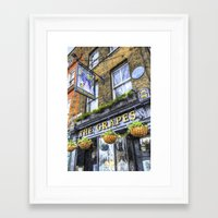 Framed Art Prints featuring The Grapes Pub London Art by David Pyatt