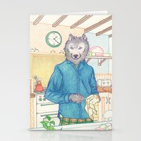 Everyday Animals - Mr Wolf washes the dishes Stationery Cards