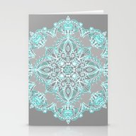Stationery Cards featuring Teal And Aqua Lace Manda… by Micklyn