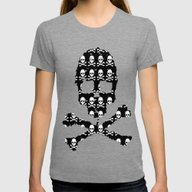 Skull And X Bones In Bla… Womens Fitted Tee Tri-Grey LARGE