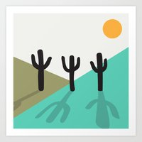 Cactus in the desert Art Print