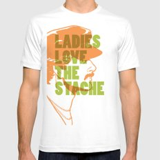 Ladies Love the Mustache SMALL White Mens Fitted Tee