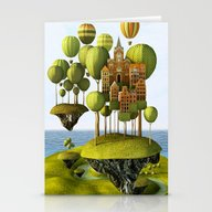Stationery Cards featuring City In The Sky by Teodoru Badiu