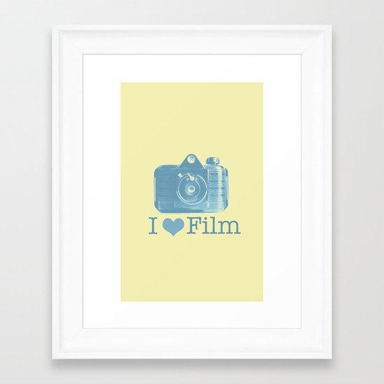 I ♥ Film (Yellow/Blue) Framed Art Print