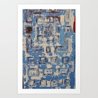 Blue Patterned Door Art Print