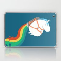 Fat Unicorn on Rainbow Jetpack Laptop & iPad Skin