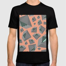 Mint and Gray Diamond on Peach Mens Fitted Tee Black SMALL