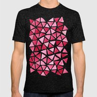 Imperfect Geometry: Pink Triangles Mens Fitted Tee Tri-Black SMALL