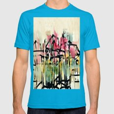 Our little Town Mens Fitted Tee Teal SMALL