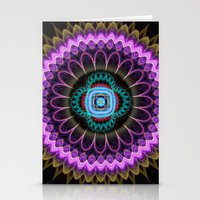 Groovy mandala with fantasy flower and tribal patterns Stationery Cards