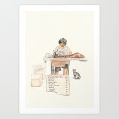 The Street Tailor & A Stray Cat Art Print