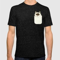 Puss In Pocket (B) Mens Fitted Tee Tri-Black SMALL