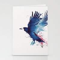 Stationery Card featuring Bloody Crow by Robert Farkas