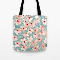 Shabby Chic Hibiscus Pat… Tote Bag