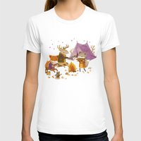 fall T-shirts featuring Critters: Fall Camping by Teagan White