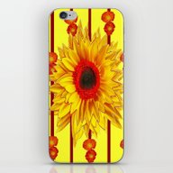 Orange Poppies Stripes S… iPhone & iPod Skin
