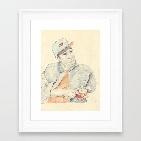 Tyler with an apple Framed Art Print