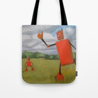 Robot In Landscape #1 Tote Bag