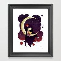Golden Butterfly Moon Framed Art Print