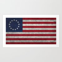 The Betsy Ross flag of the USA - Vintage Grungy version Art Print
