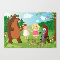 Snow-White and Rose-Red fairy tale series Canvas Print