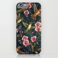 iPhone Cases featuring Hummingbird Pattern by Kate O'Hara Illustration