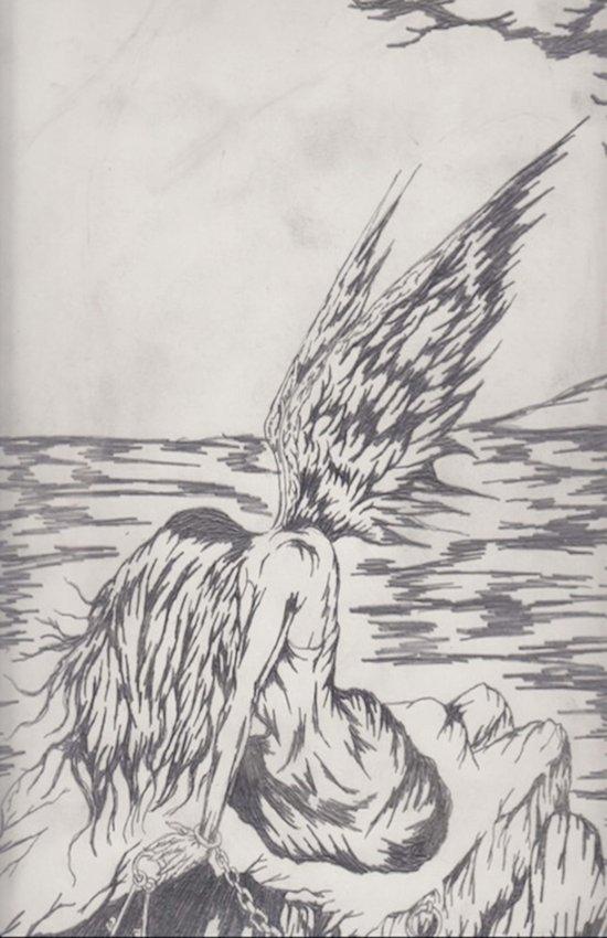 angel on rocks Art Print