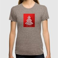 Happy Holidays - Christm… Womens Fitted Tee Tri-Coffee SMALL