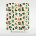 Terrariums - Cute little planters for succulents in repeat pattern by Andrea Lauren Shower Curtain