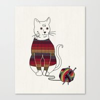 Knitted Cat Canvas Print