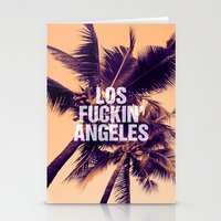 los angeles Stationery Cards featuring Los Angeles by Text Guy
