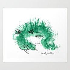 Green Dragon Sleeping Art Print