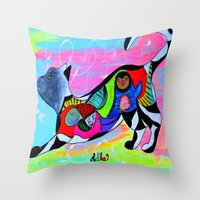 PLAYFUL WHISKERS Throw Pillow
