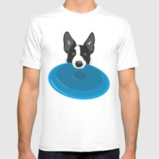 Border Collie - Disc Dog 2 White SMALL Mens Fitted Tee