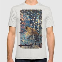 THE WOLF HOWLED AT THE STAR FILLED NIGHT Mens Fitted Tee Silver SMALL