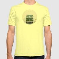 LIVE SIMPLY. Vintage Volkswagen Van.  Mens Fitted Tee Lemon SMALL