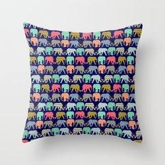 baby elephants and flamingos navy Throw Pillow