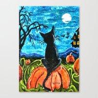 Cat In Pumpkin Patch Canvas Print